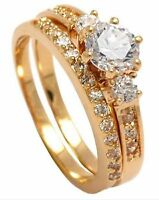 18ct Gold Filled Engagement and Wedding Ring Bridal Set with Gemstone R0138