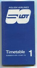 LOT POLISH AIRLINES SUMMER 1 TIMETABLE APRIL - MAY 1979 POLAND