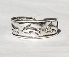 Diving Dolphin Cuff Design Adjustable Solid Sterling Silver 925 Toe Ring