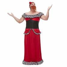 Bearded Lady Costume Red With Dress Corset Headband & Beard