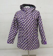 SIMS Snowboards Lightly Insulated Hooded Checked Purple Jacket Girl's XL GREAT