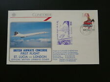 first flight cover Concorde Saint Lucia to London 1986 British Airways 96508