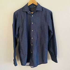 Black Label by Ruffini Mens Small 14-14.5 Slim Fit shirt Button Down Long Sleeve