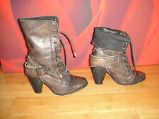RIVER ISLAND Brown distressed leather  combat style heel boots  UK 6 EU 39 *48*