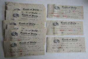 Wholesale Lot of 25 Old 1919 - BANK OF ITALY - Santa Clara CA. - Bank Checks