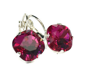 Fuchsia Cushion Cut Earrings Square Stone with Crystals from Swarovski