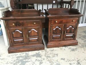 Pair of Ethan Allen Antiqued Pine Collection Cabinet Nightstands