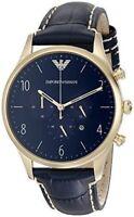 Emporio Armani Men's Classic AR1862 Sport Blue Leather Gold-Tone Watch