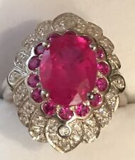 $400 NATURAL RED RUBY MAIN STONE 4.10CT 14k WHITE GOLD OVER SILVER RING SZ 7