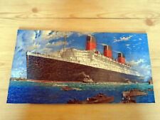 VINTAGE  CUNARD WHITE STAR LINE WOODEN JIGSAW PUZZLE - RMS QUEEN MARY