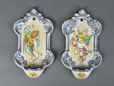 Couple Holy Water Fonts Majolica With Angels Painted Decoration Baroque