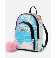 Justice Girls Mini Iridescent Sequin Backpack w/ Pompom Silver Purse Accessory