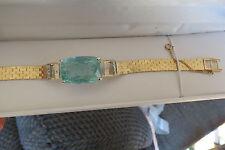 Huge Santa Maria 20 ct  aquamarine & Diamond 14k yellow gold bracelet bangle 6.5