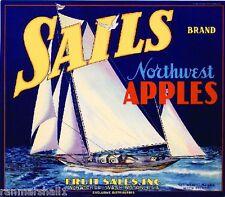 Wenatchee Washington Sails Sailboat Apples Apple Fruit Crate Box Label Art Print