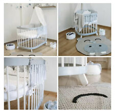 Baby Bedside Round Crib Bassinet Cot Bed 7in1 Gray/ White Quilted Mattress