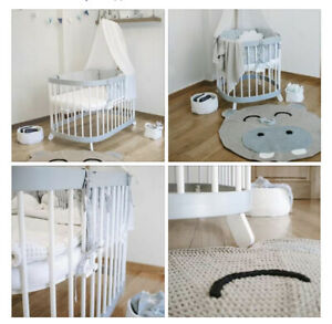 Baby Bedside Round Crib Bassinet Cot Bed 7in1 Gray / White Quilted Mattress