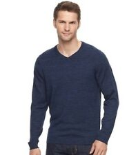 NWT Apt 9 Men's Big & Tall Navy Merino LS Solid V-Neck Pullover Sweater Sz 2XB
