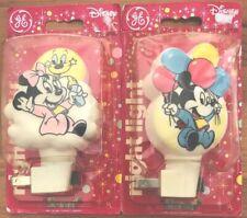 Mickey & Minnie Walt Disney General Electric Plug-In Night Light Set of 2 Usa