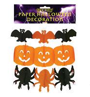 HALLOWEEN PAPER HANGING GARLAND PARTY DECORATION Spider Pumpkin Bat Orange Black