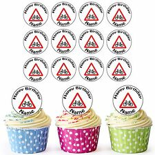 24 Personalised Pre-Cut Cycling Bike Road Sign Edible Birthday Cupcake Toppers