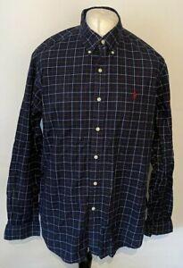 Ralph Lauren Shirt XL Men's Blue Check Long Sleeve 100% Cotton
