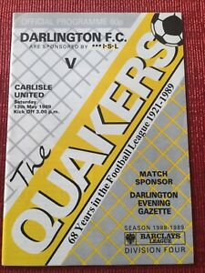 Darlington v Carlisle Utd Programme 13/5/1989 DARLINGTON's LAST LEAGUE GAME