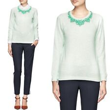 J Crew Bib Necklace Sweatshirt Womens Green Blue Pullover Beaded, Size XS Used