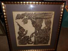Egyptian TYPE BLACK RUB ON MATERIAL FRAMED ART WORK VERY OLD RARE.