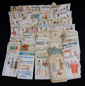 Vintage 100pc 1950s 60s Lot Sewing Patterns Simplicity Butterick Womens Children