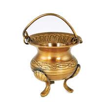"Small 3"" Elegant Antique-Style Celtic Knots & Flower Brass Cauldron Ritual Pot"