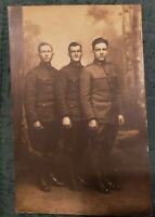 RPPC Antique Postcard of Three Very Handsome Soldiers in Uniform!
