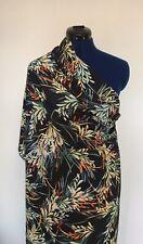 John Kaldor Black Multicolour Tropical Leaf Print Peachskin Dress Fabric 2M