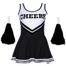 CHEERLEADER FANCY DRESS OUTFIT HIGH SCHOOL MUSICAL UNIFORM COSTUME + POM POMS