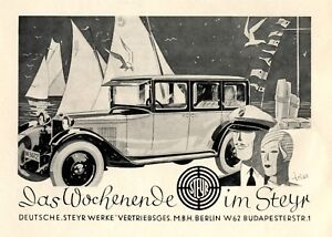 Steyr Automobile 1928 ad sailing boat weekend advertising by Trias