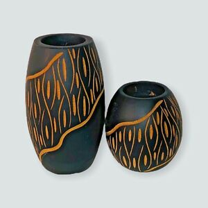 """Wooden Candle Holders Tribal Dark Wood Taper Candle Holder Set of Two 5""""& 3"""""""