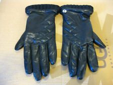 Ugg Tech Quilited Touch Screen Leather Black Women Gloves US Size M