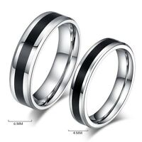 Newest Black Silver Stainless Steel Band Ring For Men Women Size 6-12 Jewelry