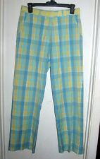 Lilly Pulitzer Blue White Yellow Plaid Pants 4 *FLAW*