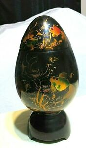 Asian Wooden Egg Shaped Trinket Box Koi Fish Black w Metallic Gold & Green