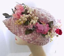 Fabulous Vogue Hats New York Vintage Mauve Straw Hat with Floral Trim