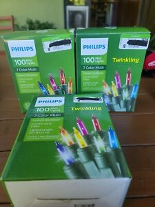 Lot of 3 PHILIPS 100 MINI LIGHTS 7 COLOR MULTI 24.7 FT. Brand new!