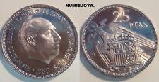 FRANCO. ESCASA moneda AUTENTICA de 25 Pesetas PROOF año 1957 en estrella 73.