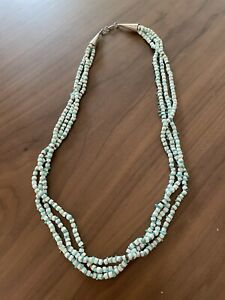 """Native American 3 strand white and turquoise bead necklace sterling 25"""""""