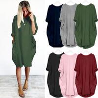 Womens Ladies Long Sleeve Summer Party Tops Rockabilly Loose Pocket Mini Dress