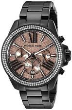 New Michael Kors Wren Black Rose Chronograph Womens Glitz Stainless Watch Mk5879