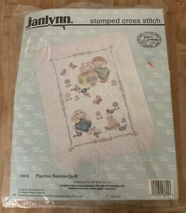 Janlynn Playtime Bunnies Stamped Cross Stitch Quilt Kit 136-05 NEW