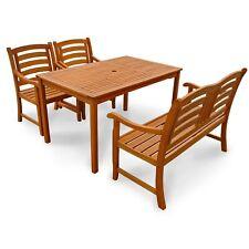 Gartenmöbel Set Garnitur Gartenbank Gartentisch rechteckig 2 Gartenstühle Holz
