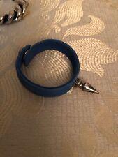 Auth CHROME HEARTS BRACELET SINGLE SPIKE leather bracelet breathBlue silver