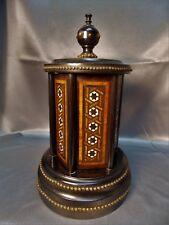 Rare Victorian Antique Inlaid MOP Ebony Wood  Cigar Box Caddy Carousel 1800's