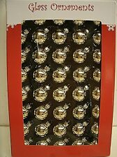 """box of 40 GOLD Glass Ball Ornaments 1"""" Miniature - feather tree"""